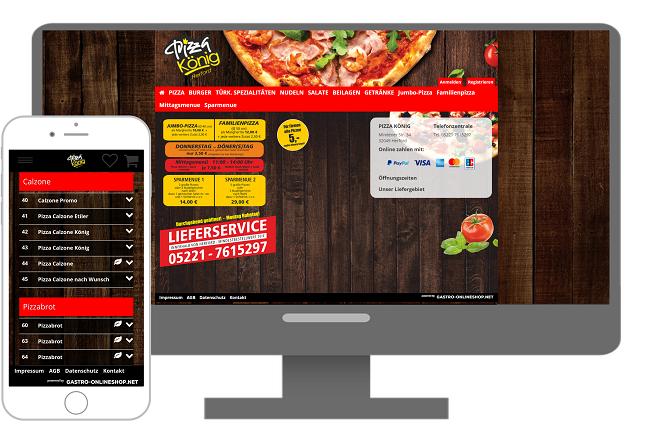 lieferservice beispiel pizzakoenig onlineshop mit verweis zum lieferservice